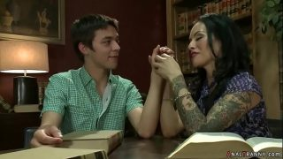 Shemale anal fuck teen boy in library