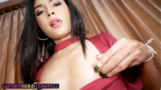 Tiny young Thai shemale blowjob and anal fucked doggystyle bareback