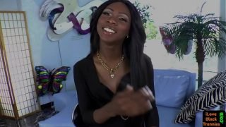 Young solo ebony babe stroking her dick